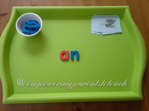 Empowering Parents to Teach- an word family tray