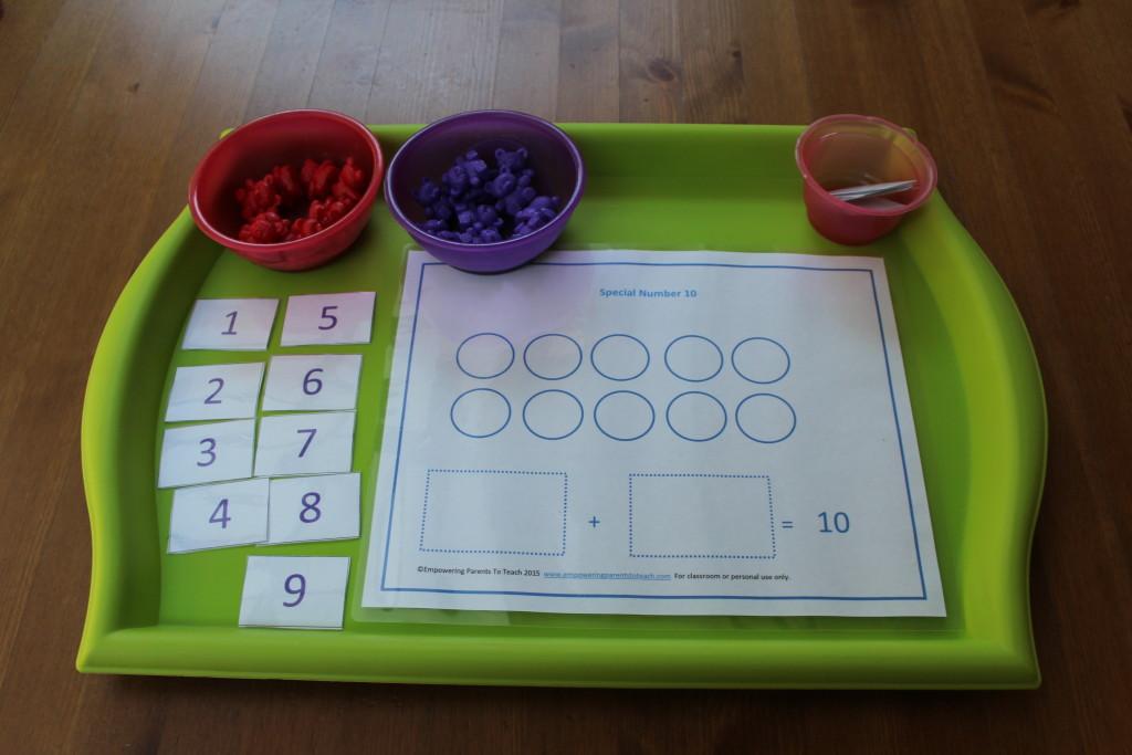 Red bowl: Red bears   Purple bowl: Purple bears Pink bowl: Red numbers